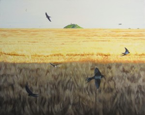 Swallows darting over the Strand Field