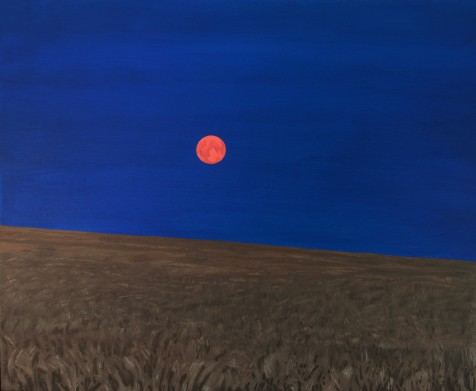 Red Moonrise over Barley