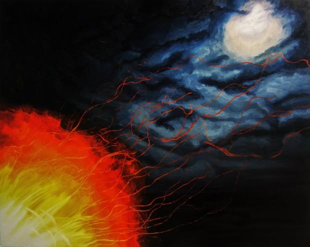 Bonfire Ember Trails and Moonlight