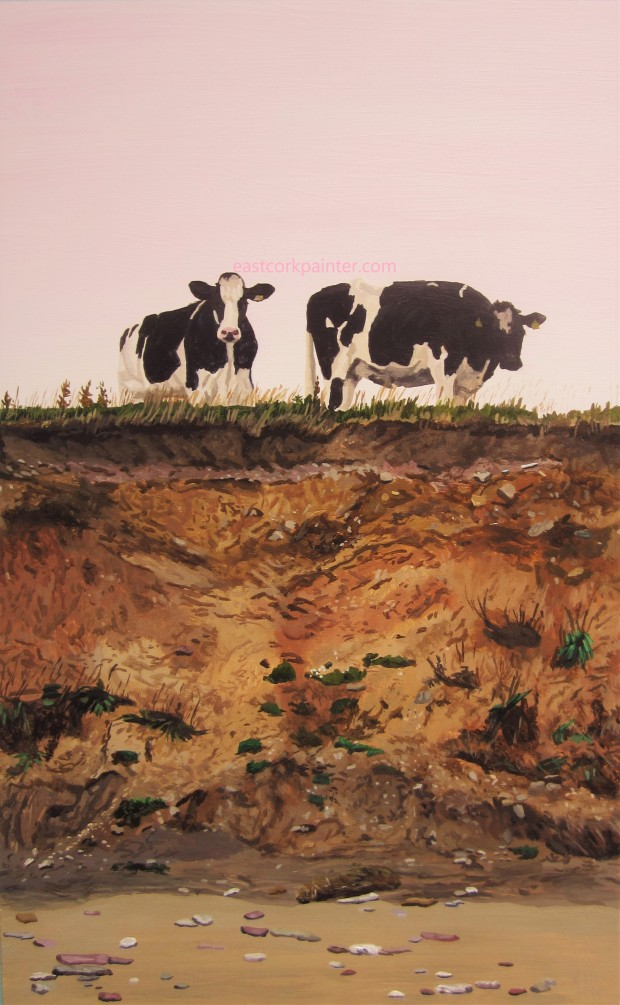 Two Cows On A Cliff Edge watermark