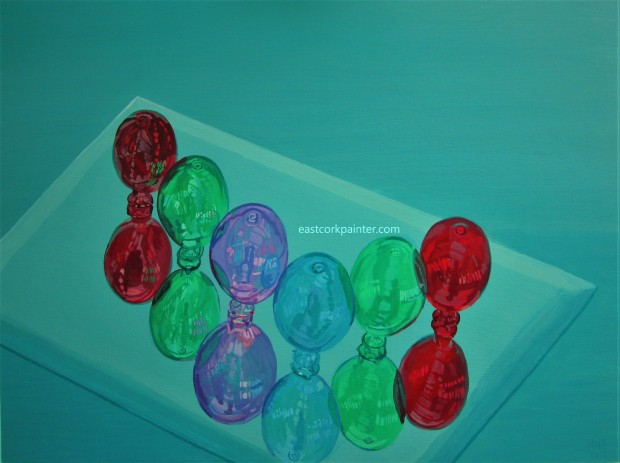 Six Coloured Glass Ornaments watermark