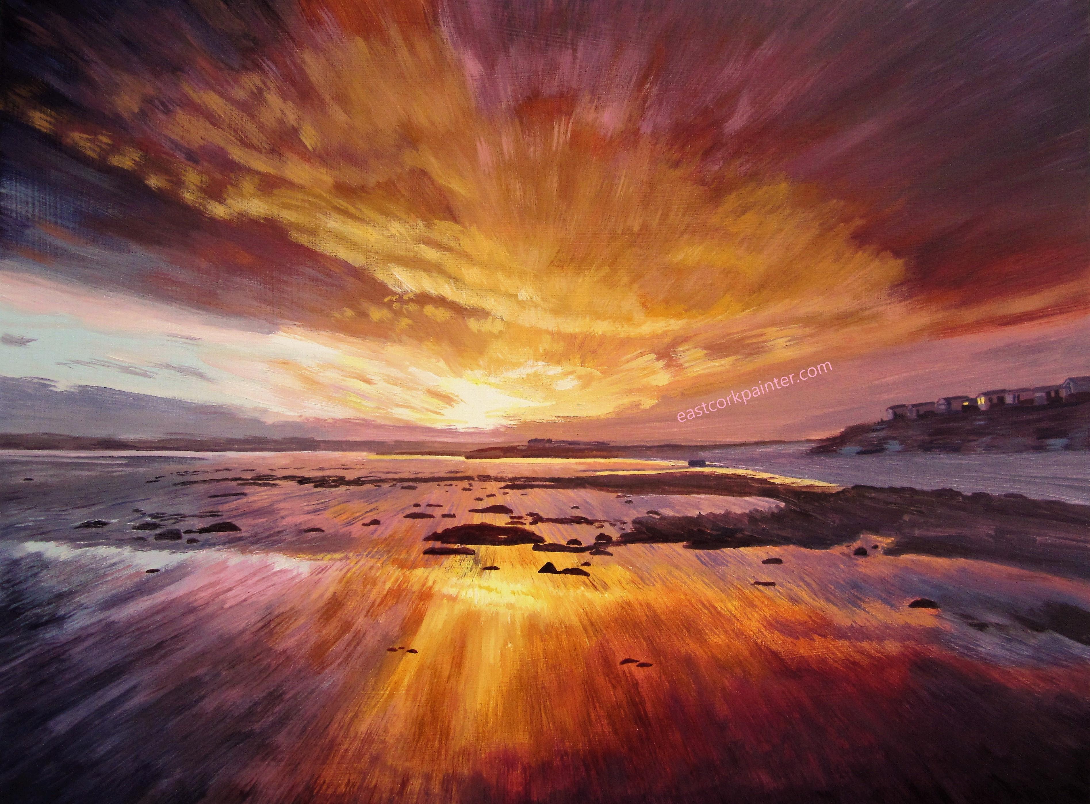 Christmas Eve 2013 Sunset on Garryvoe Beach watermark