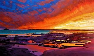 Fiery Sunset Over Garryvoe Beach3 watermark