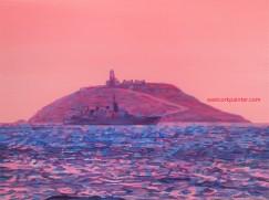 Irish Naval Ship In Front Of Ballycotton Island watermark
