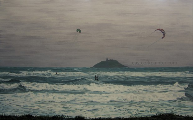 Two Kite-Surfers In Garryvoe watermark