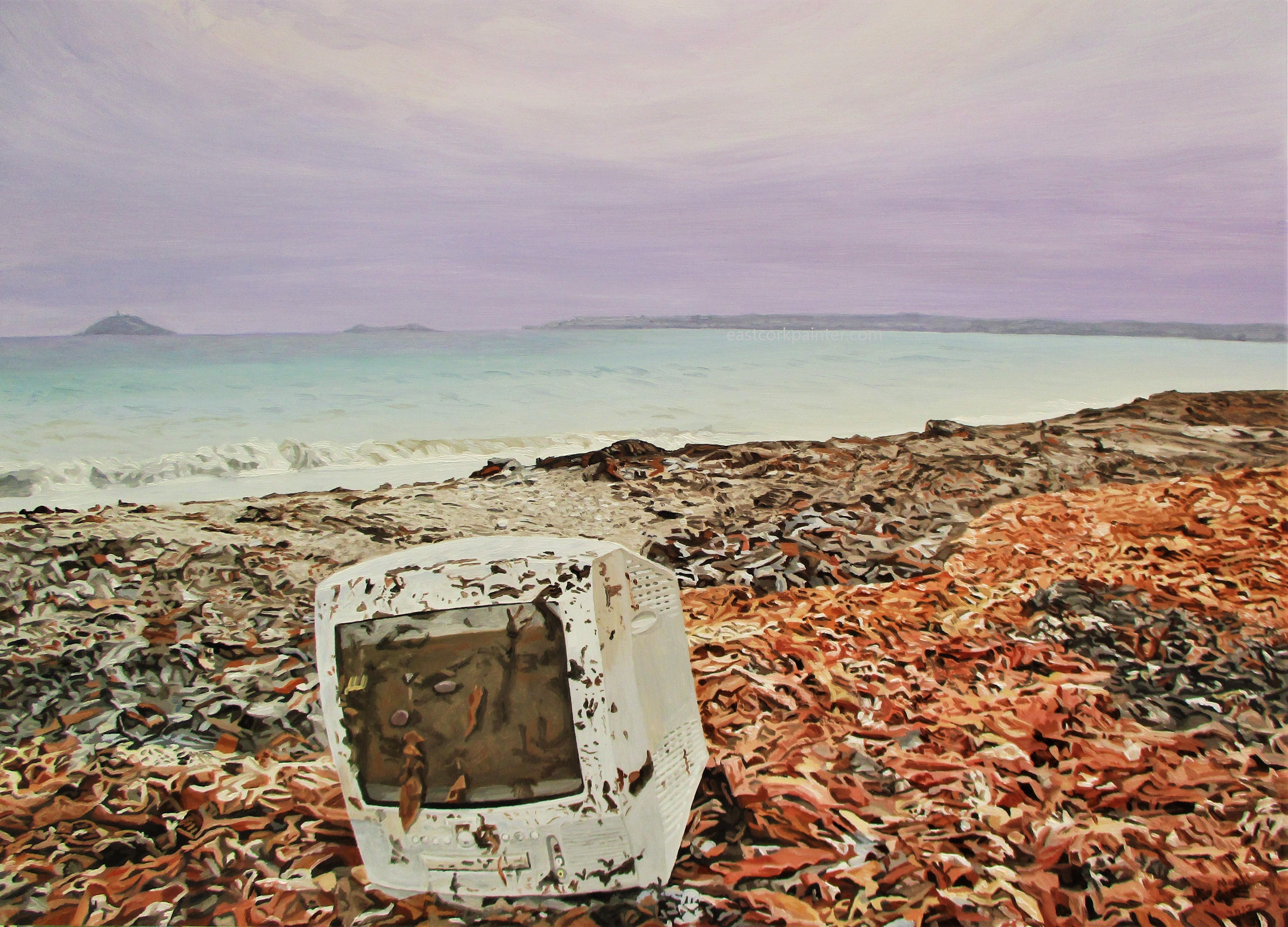 Computer On Garryvoe Beach watermark