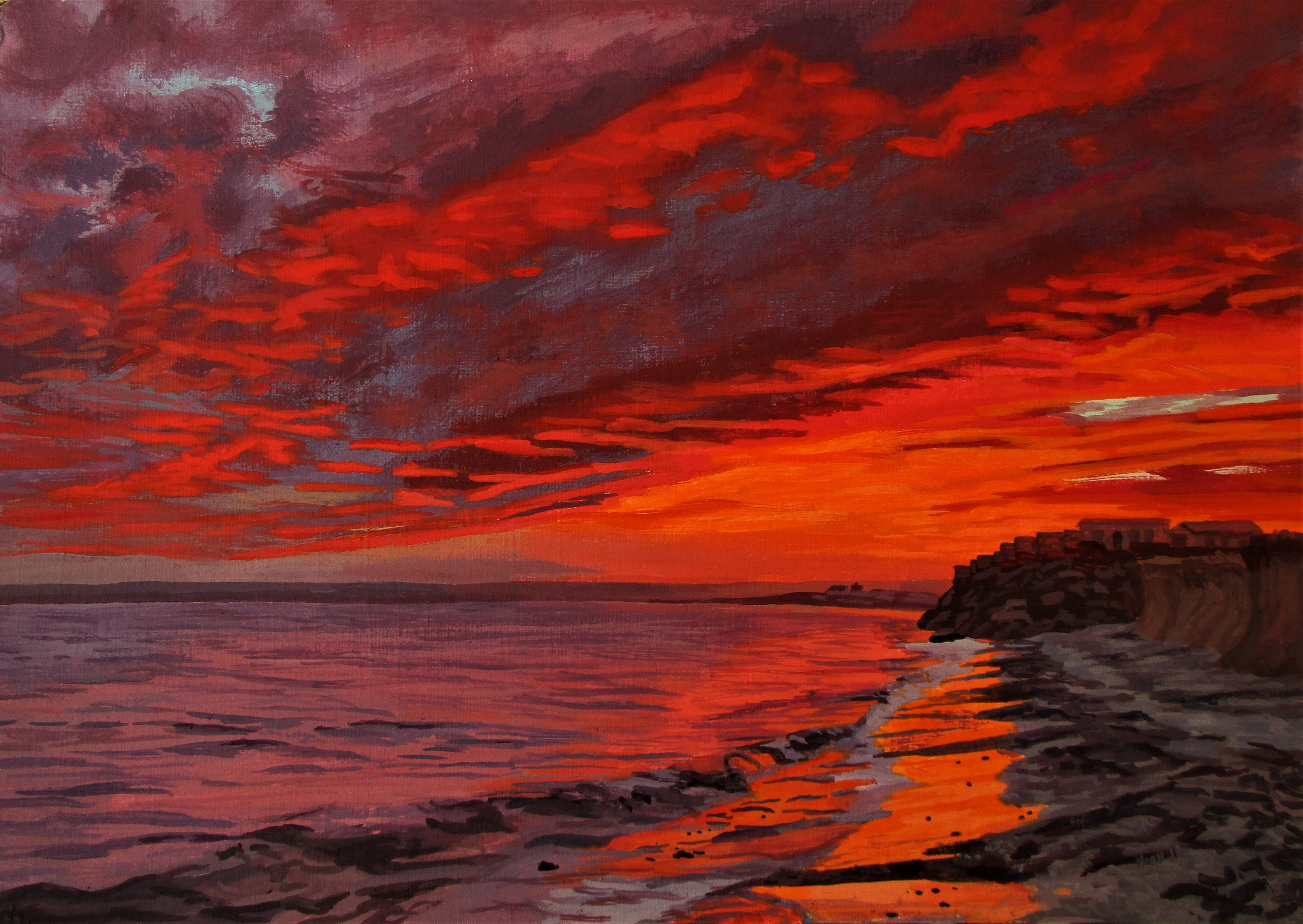 Fiery Red Sunset Over Garryvoe Beach Watermark