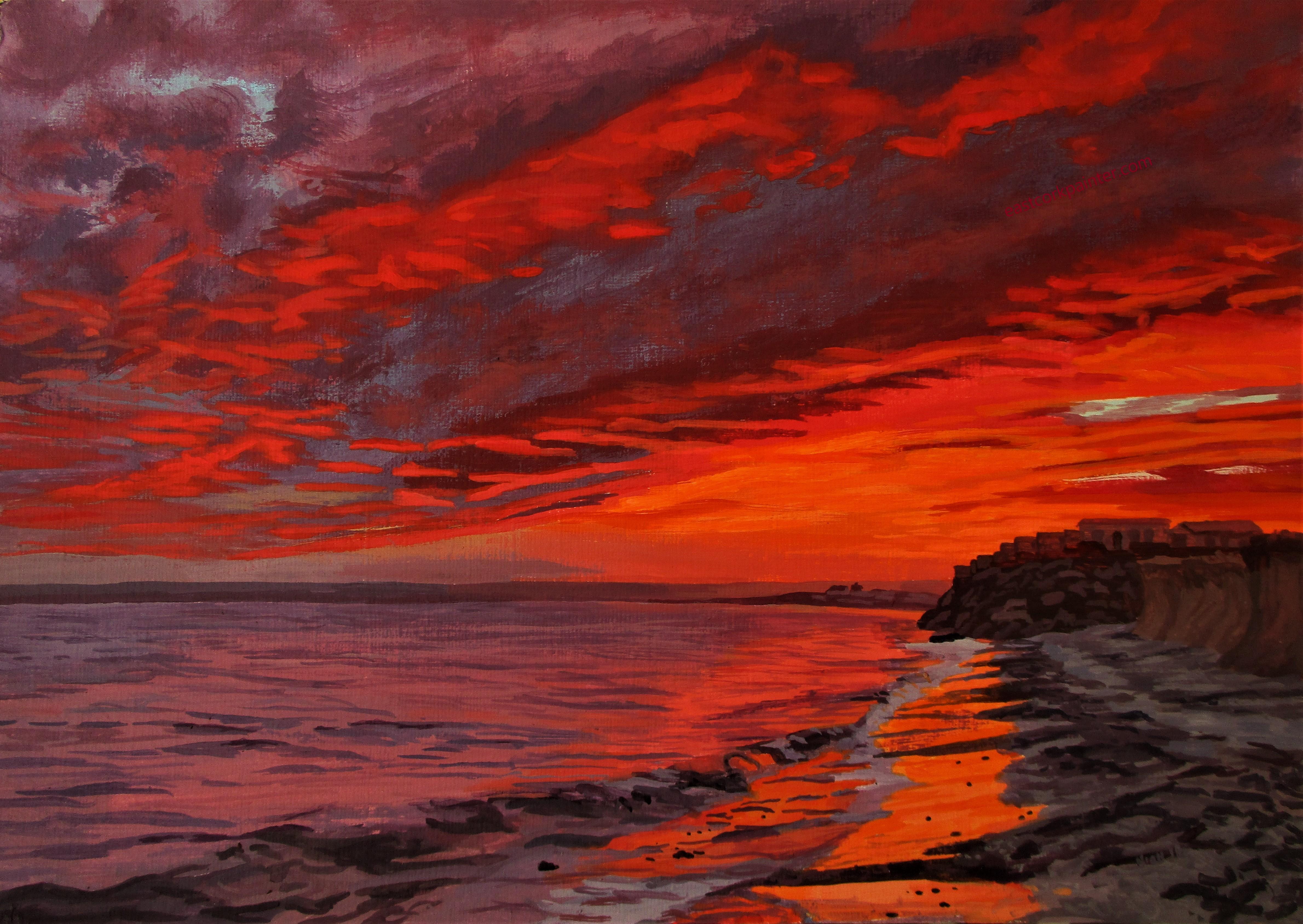 Fiery Red Sunset Over Garryvoe Beach Watermark