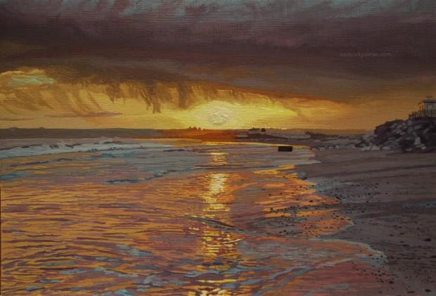 Raincloud Sunset Over Garryvoe Beach watermark