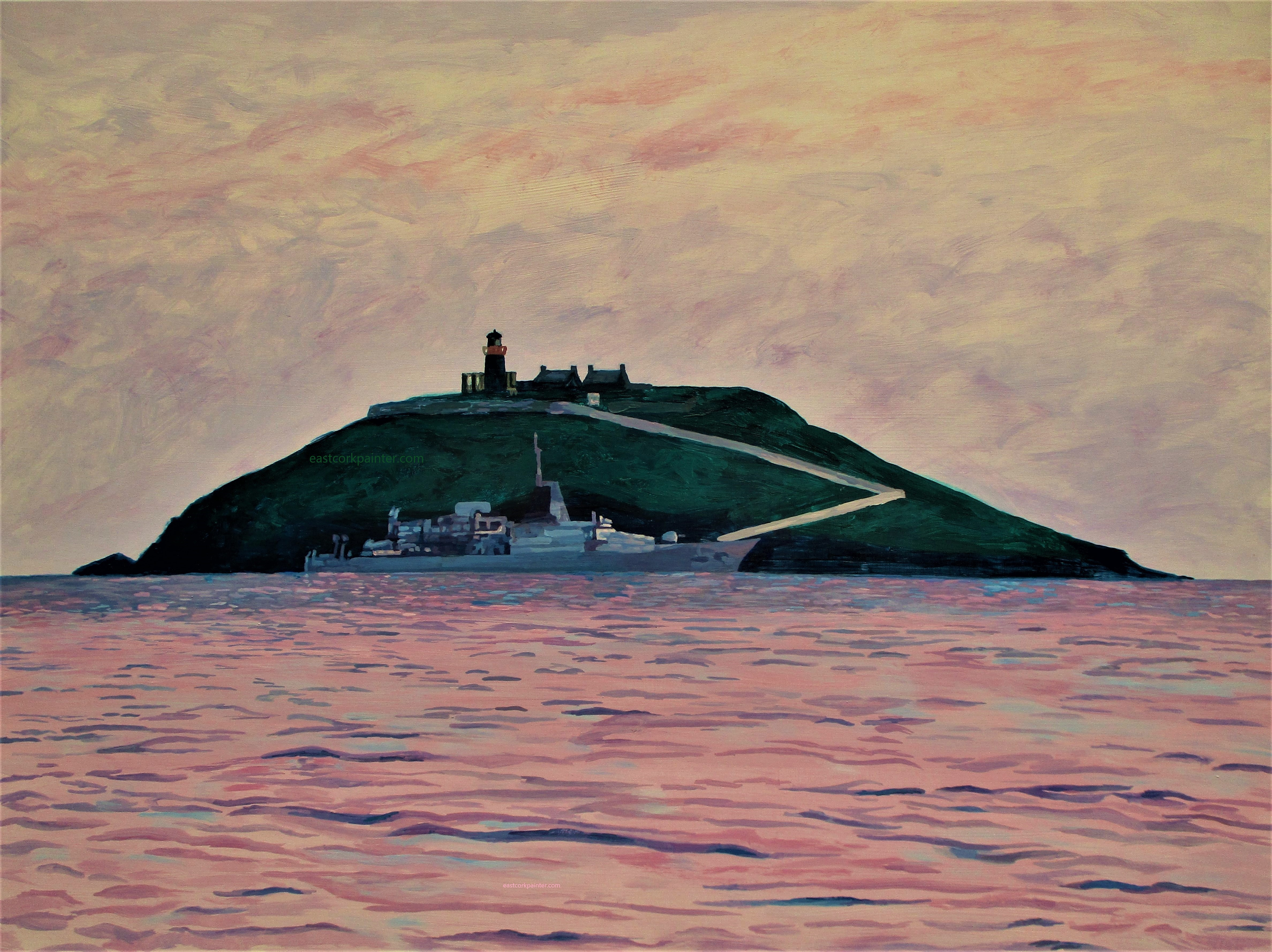 Irish Naval Ship In Front Of Ballycotton Island 2 watermark