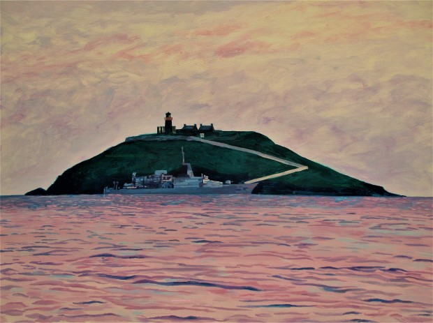 Irish Naval Ship In Front Of Ballycotton Island 2 watermark