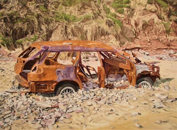 Abandoned Car On Ballyshane Beach watermark