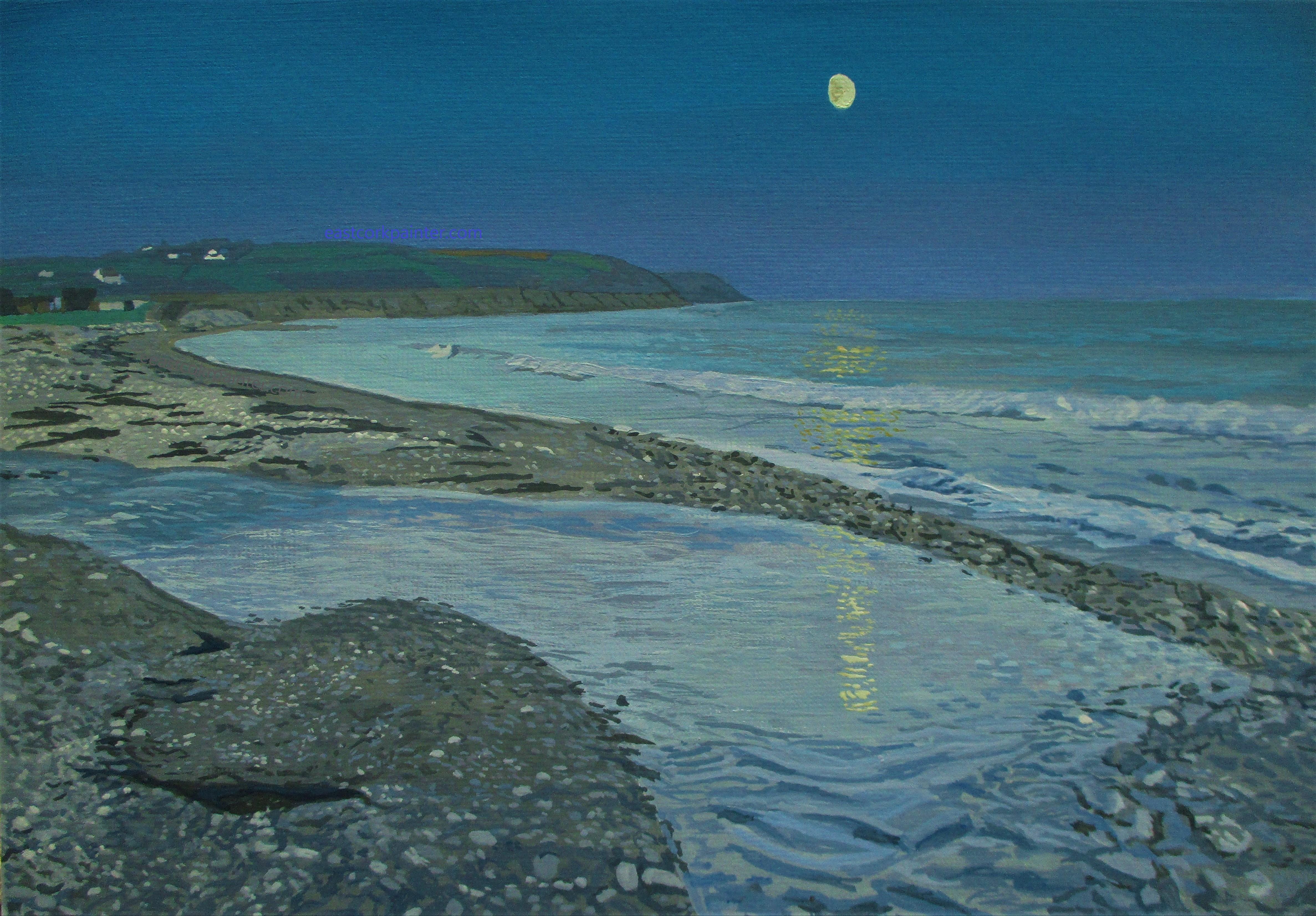 Gibbous Moon Over Ballinwilling Beach